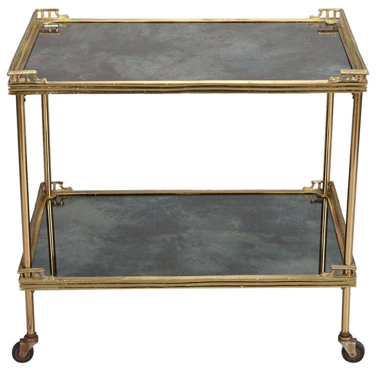 Neo Classical Gilded Bronze Trolley With Reverse Painted
