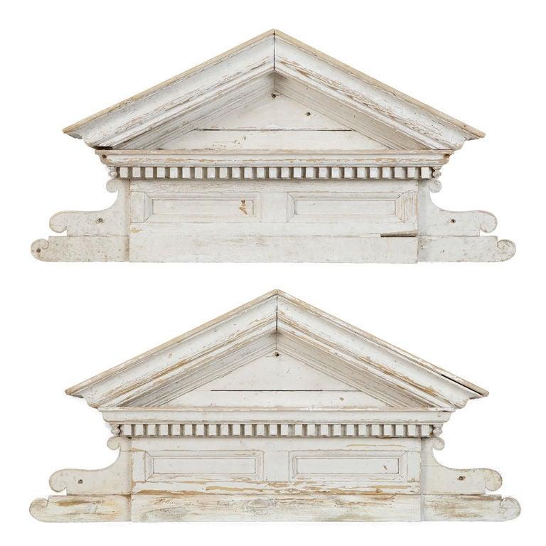 Architectural Wood Pediment : White wood overdoor pediment at stdibs