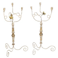 Pair Tall Three-Light Italian Candelabra with Antique Elements