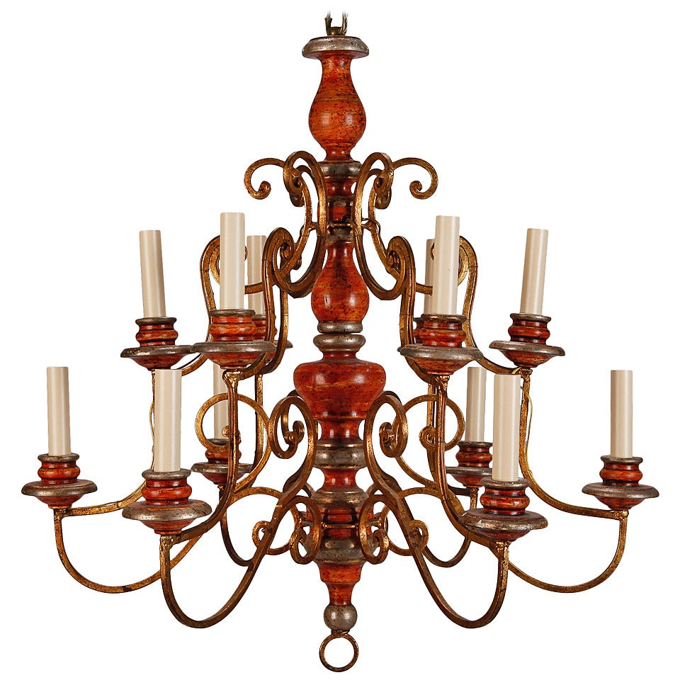 Twelve Light Italian Painted Wood and Scrolled Gilt Metal Chandelier For Sale