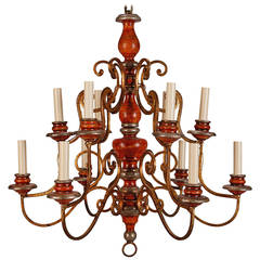 Twelve Light Italian Painted Wood and Scrolled Gilt Metal Chandelier