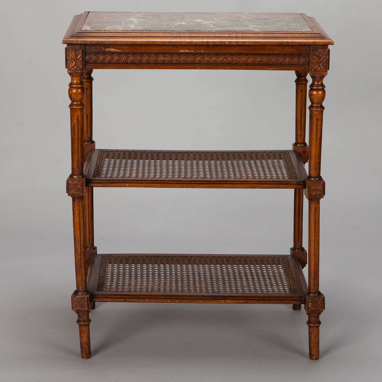 20th Century French Tiered Side Table with Marble Top and Caned Shelves For Sale