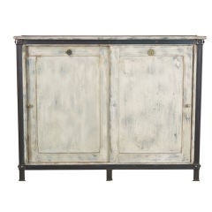 French White Wood and Metal Industrial Cabinet