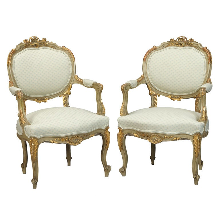 Pair gilded louis xv style bergeres arm chairs fauteuils at 1stdibs - Fauteuil style louis xv ...