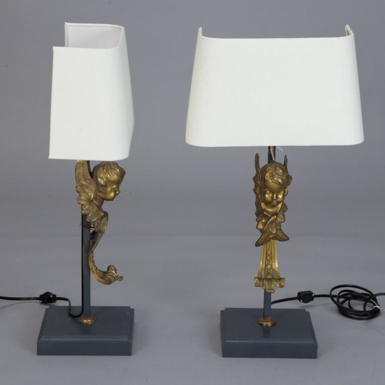 Pair of 19th Century Bronze Puti Cherub Lamps In Good Condition For Sale In Troy, MI