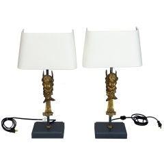 Pair of 19th Century Bronze Puti Cherub Lamps