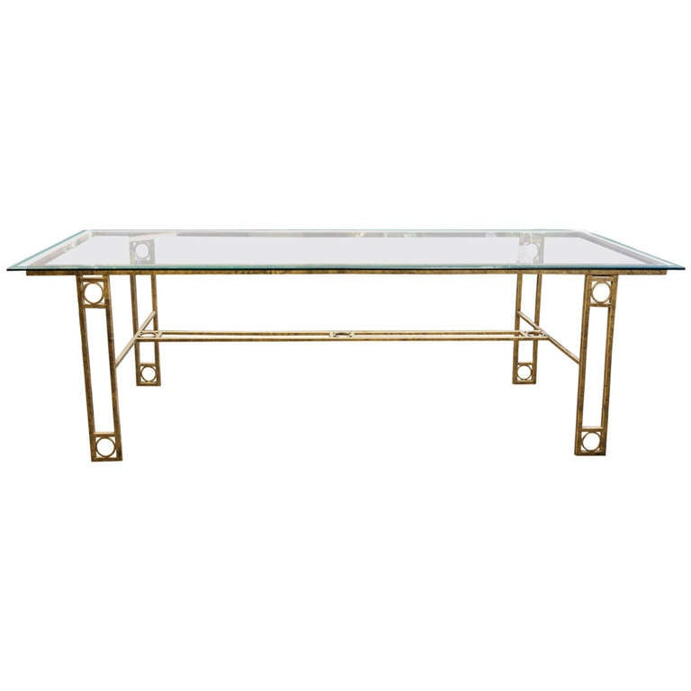 Mid Century Dining Table With Iron Base And Glass Top At 1stdibs