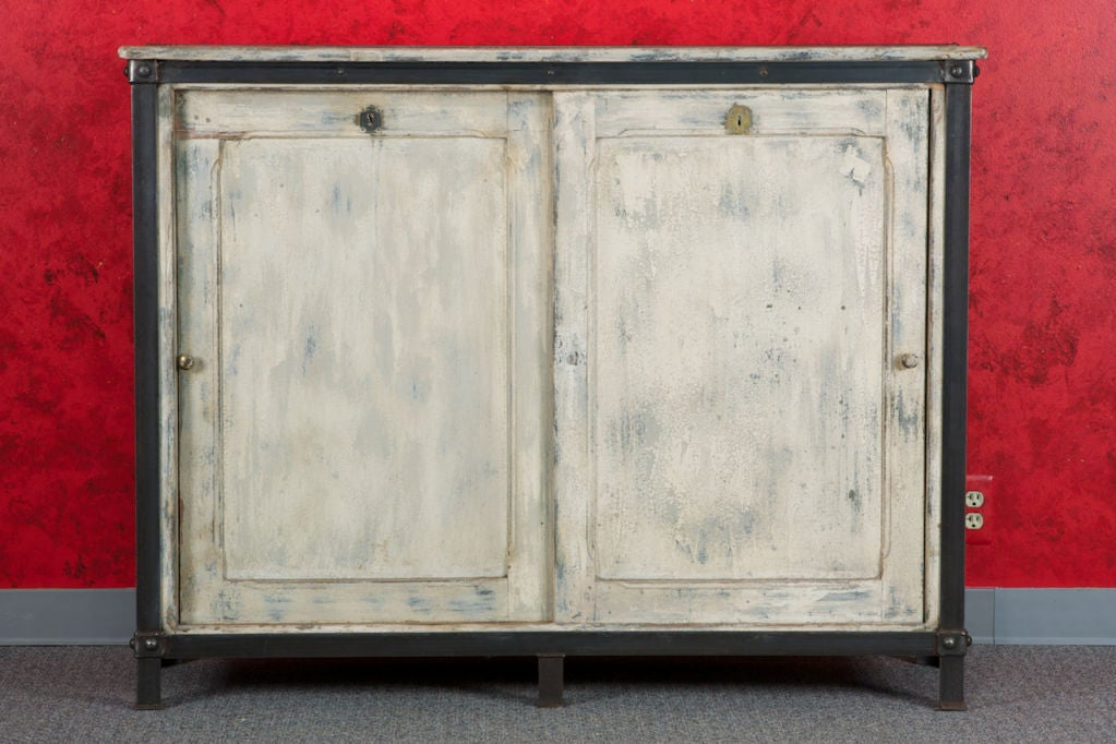 Mid-20th Century French White Wood and Metal Industrial Cabinet