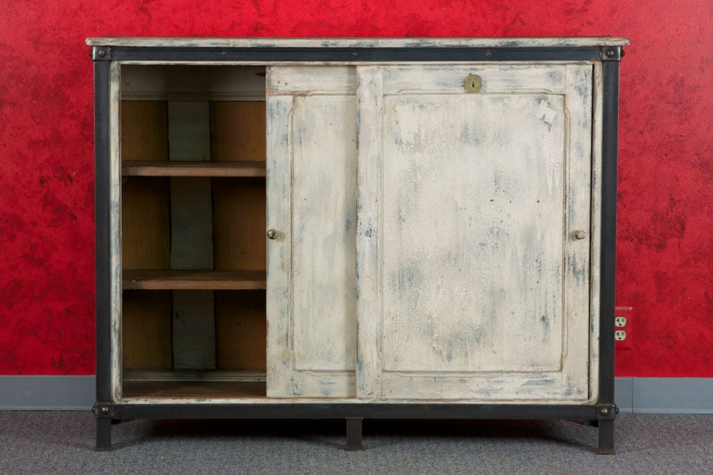 French White Wood and Metal Industrial Cabinet 1