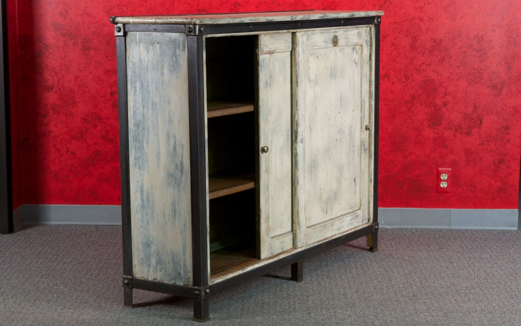 French White Wood and Metal Industrial Cabinet 2
