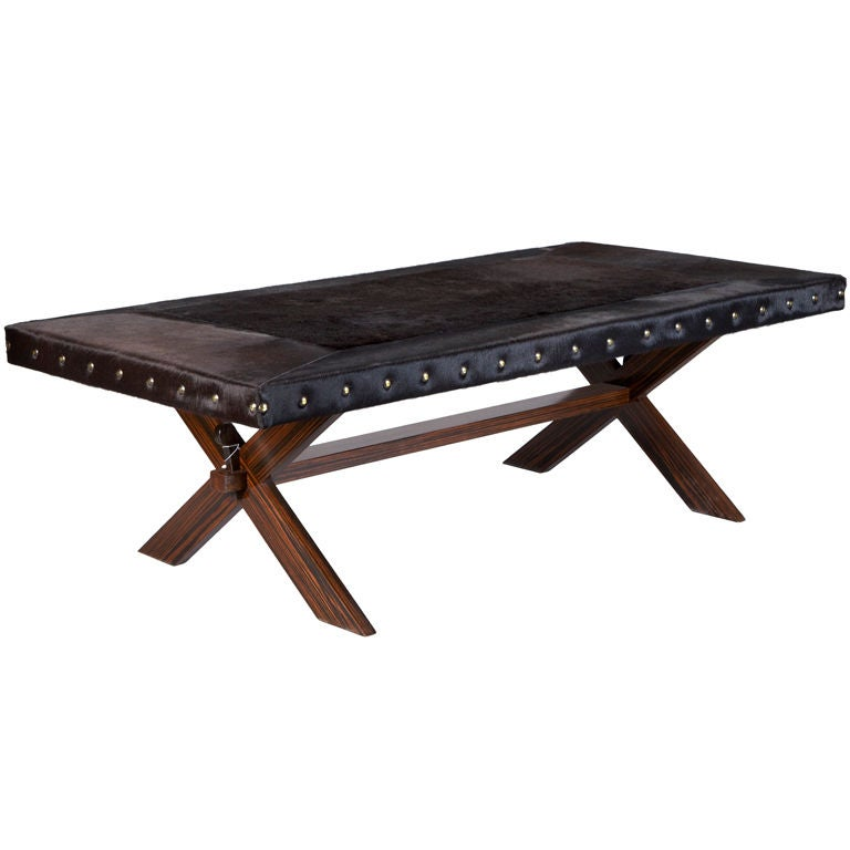 Black Hair On Hide Covered Low Table At 1stdibs