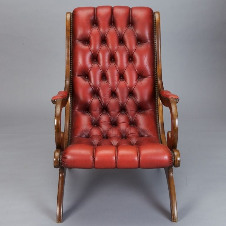 English Red Leather Tufted Library Chair And Ottoman At