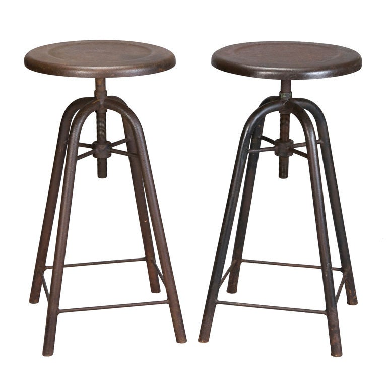 Pair French Metal Industrial Stools