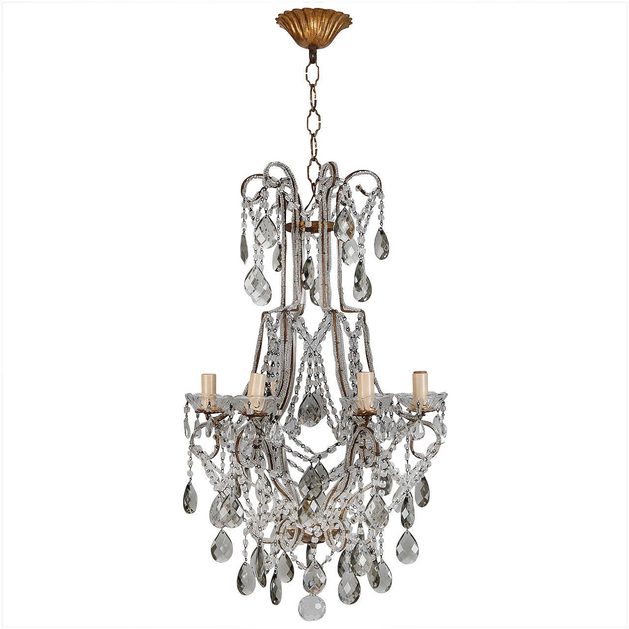 french six light all crystal beaded chandelier with smoke color drops at 1stdibs