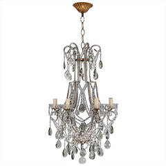 French Six-Light All Crystal Beaded Chandelier with Smoke Color Drops