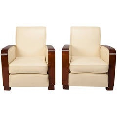 Pair Art Deco Leather Club Chairs With Polished Wood Arms