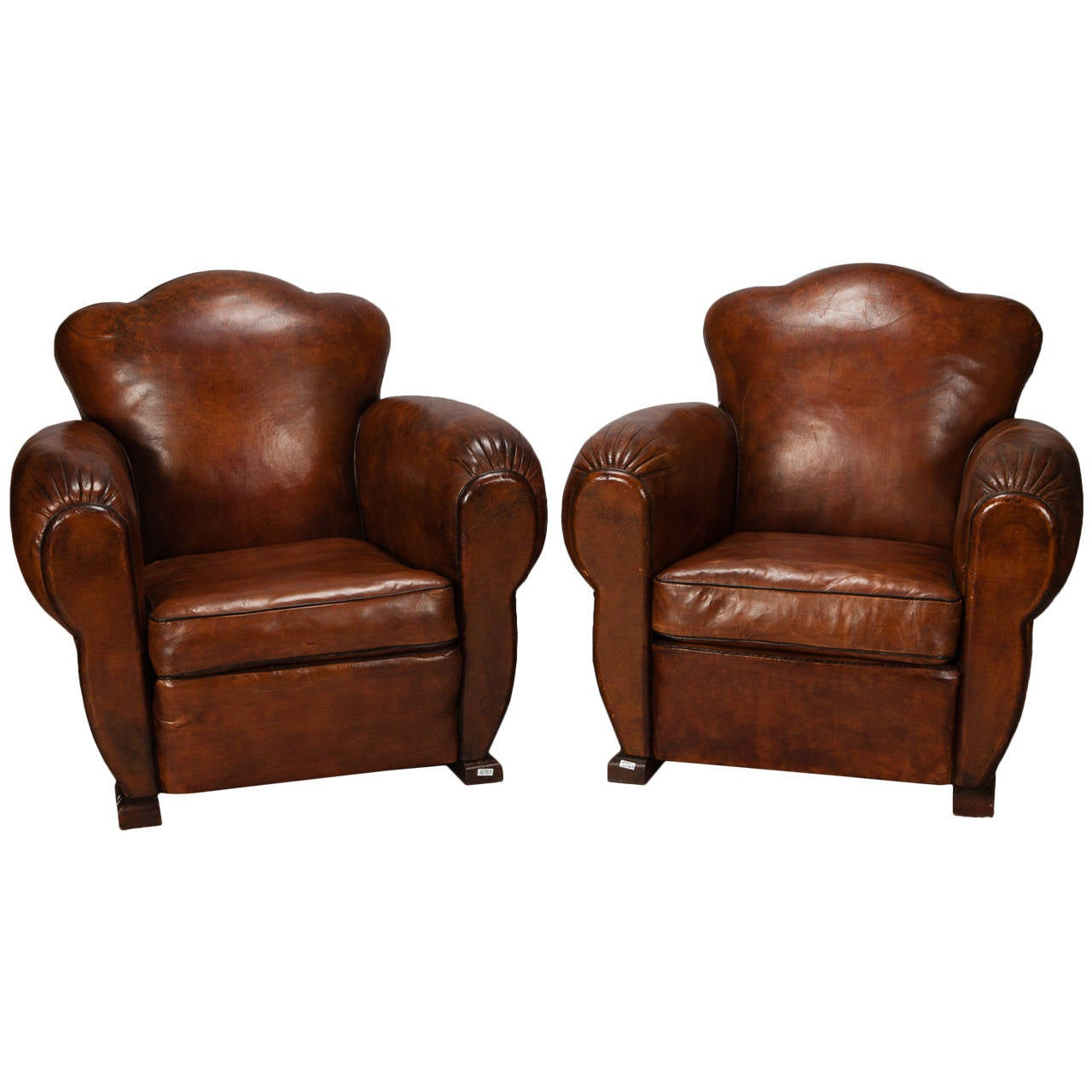 Pair of French Art Deco Leather Club Chairs with Camel