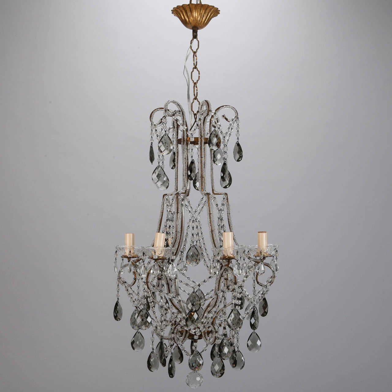 French six light all crystal beaded chandelier with smoke for 6 light crystal chandelier