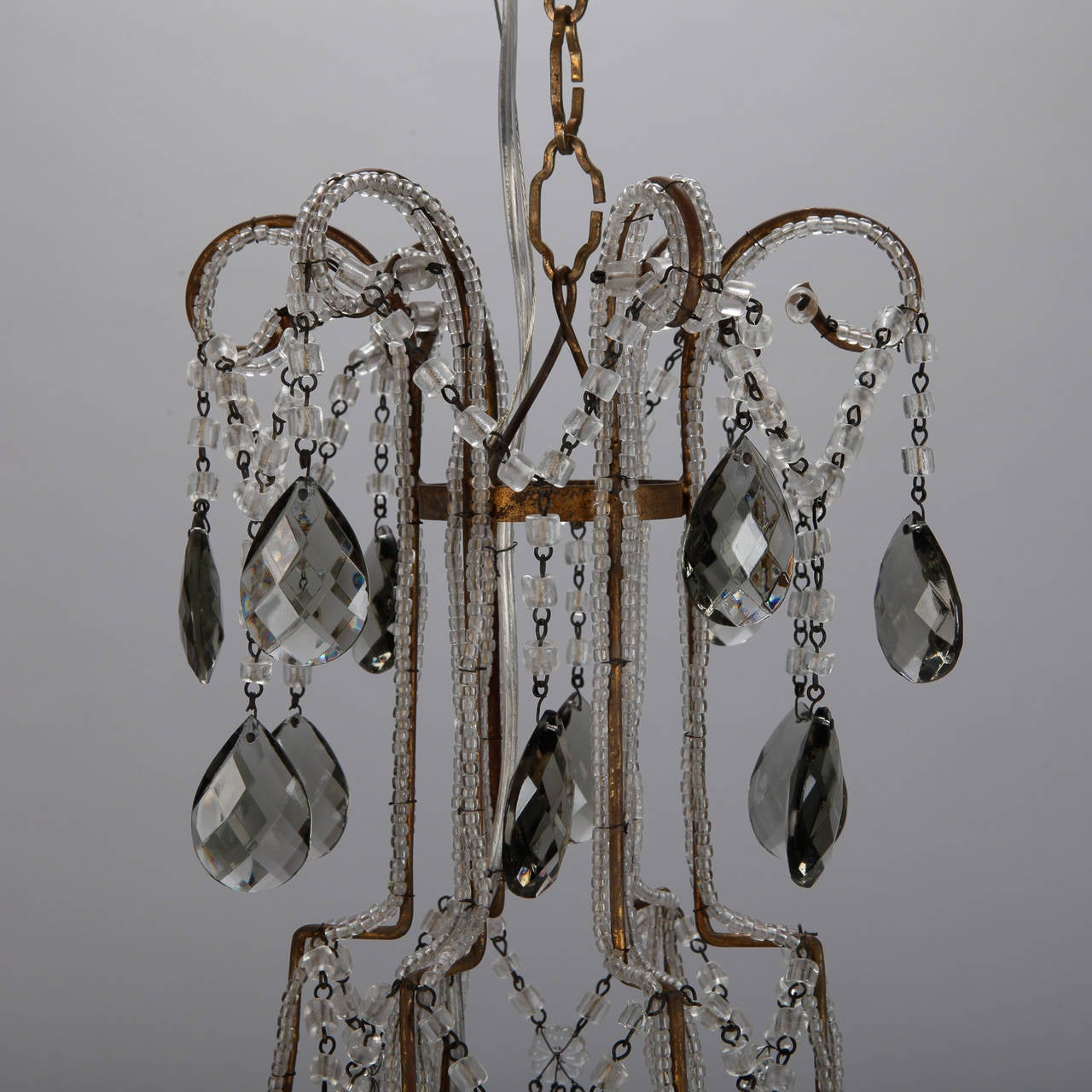Crystal Beaded Chandelier With Smoke Color Drops For Sale At 1stdibs