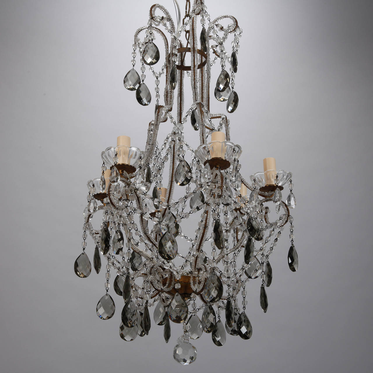 Six Light All Crystal Beaded Chandelier With Smoke Color Drops Image 9