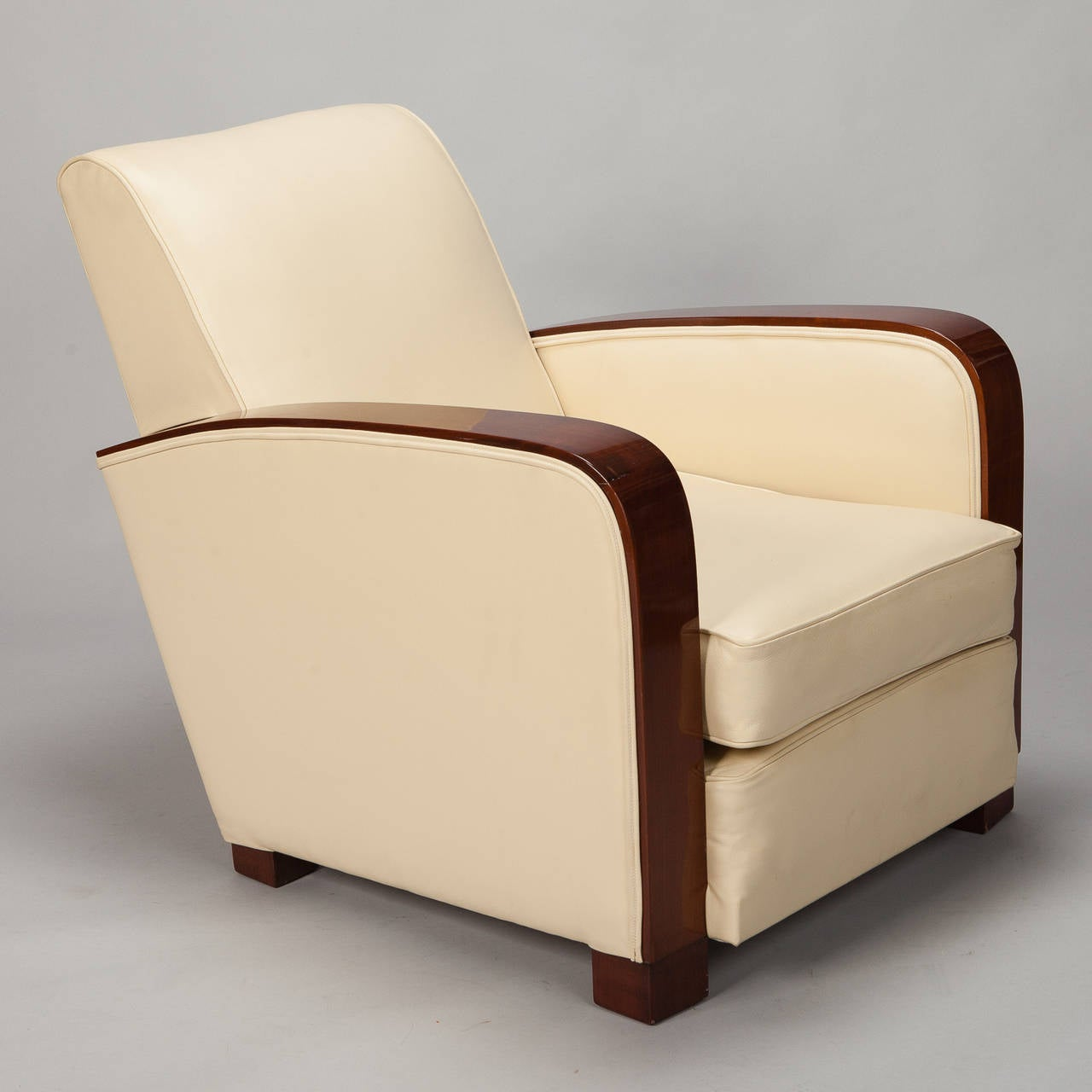 Pair Art Deco Leather Club Chairs With Polished Wood Arms ...