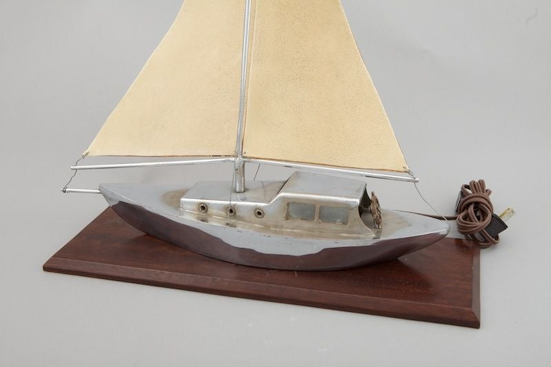 French Art Deco Sculpted Metal Yacht Lamp For Sale