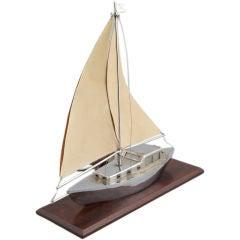 Art Deco Sculpted Metal Yacht Lamp