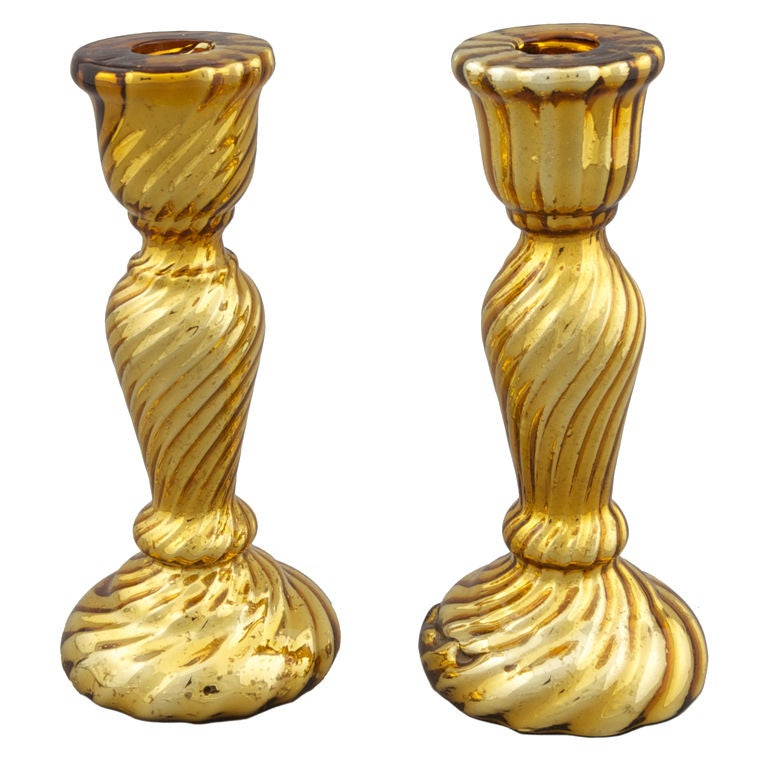 Gold Mercury Glass Candleholder For Sale