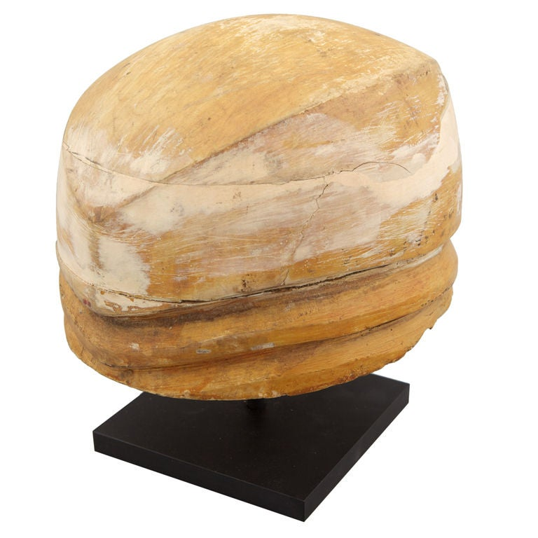 Wooden Cloche Hat Mold on Stand