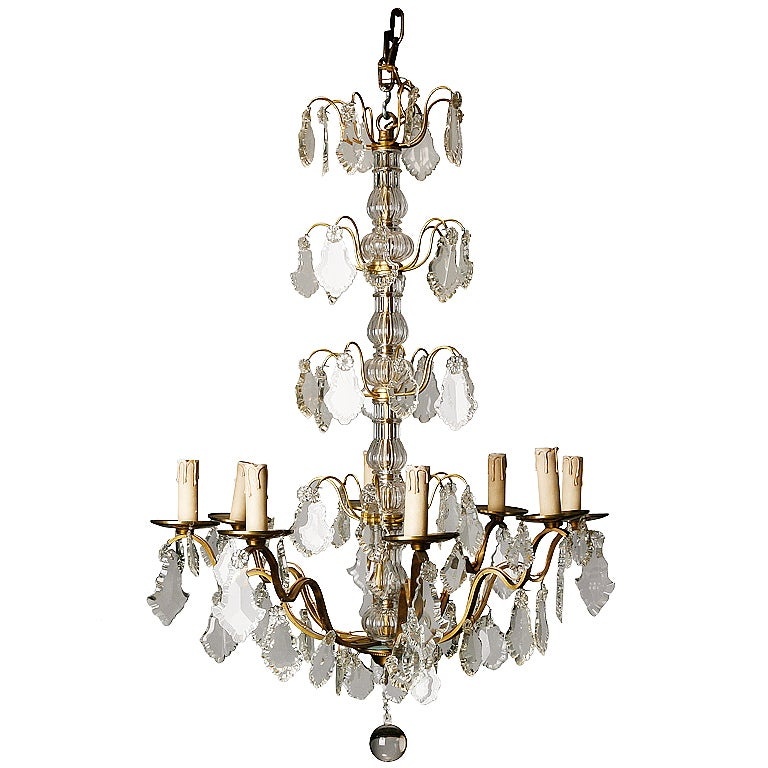 French Eight Light Brass and Crystal Chandelier