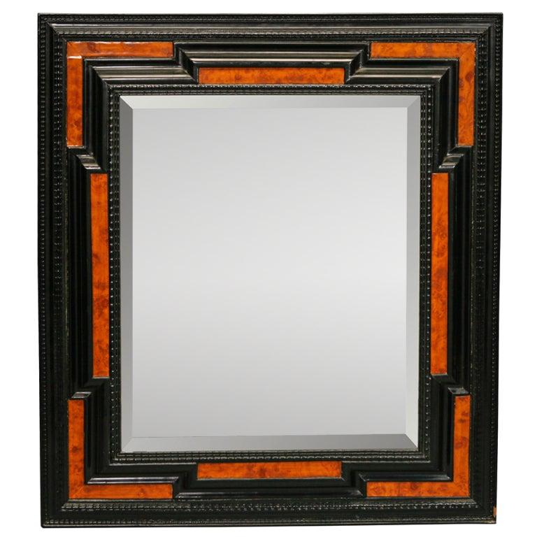 19th Century Black and Burled Wood Dutch Mirror