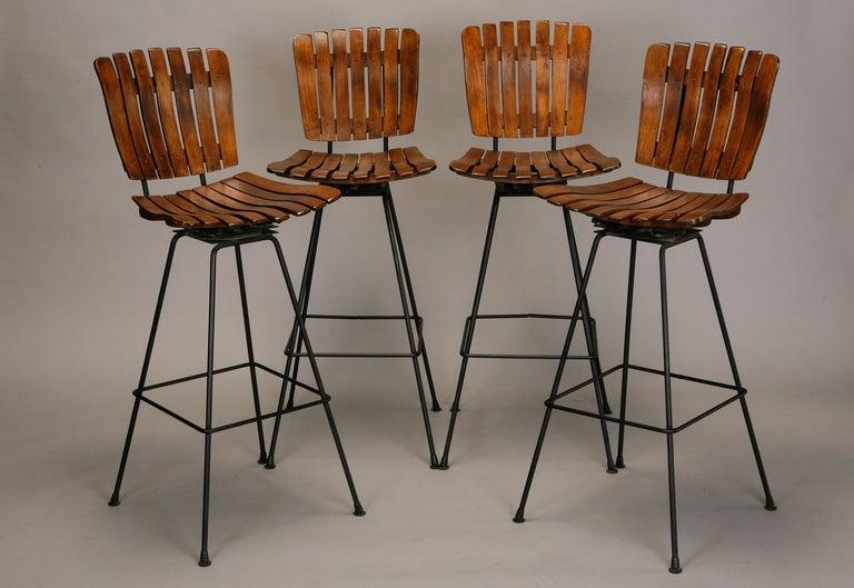 set of 4 arthur umanoff slat wood and wrought iron bar height swivel barstools 2 - Wrought Iron Bar Stools