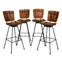 Set of 4 Arthur Umanoff Slat Wood and Wrought Iron Bar Height Swivel Barstools