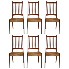 Set of 6 Mid Century Danish Teak and Woven Rope Dining Chairs