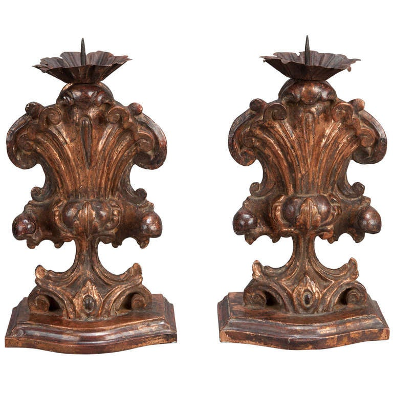 Italian Large Bronze Carved Wood Candle Holder Amphoras