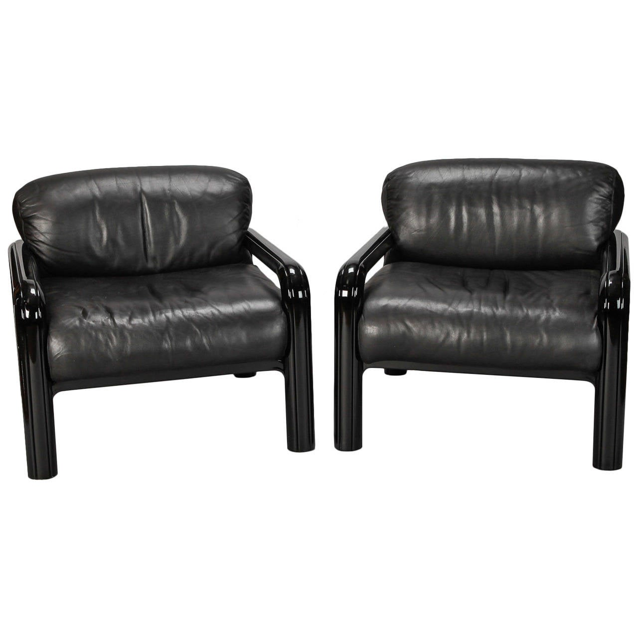 Very comfortable pair of 1950s french reclining leather armchairs - Pair Gae Aulenti For Knoll International Black Leather Arm Chairs 1