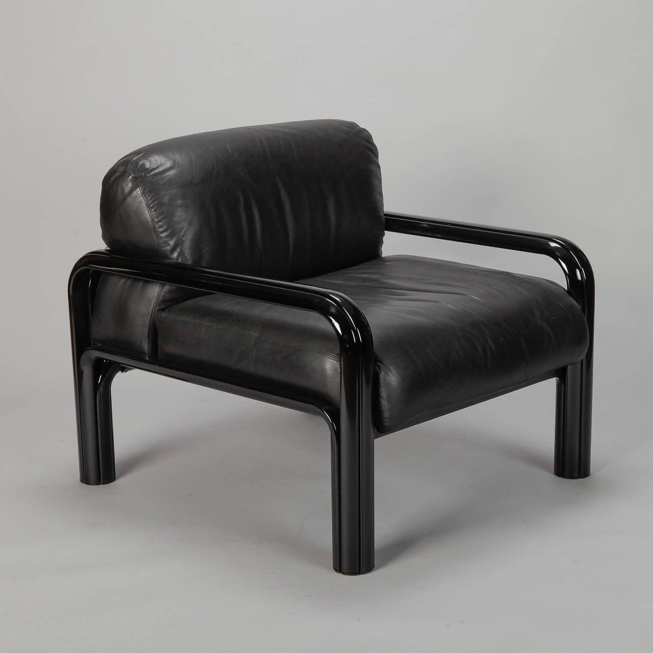 pair gae aulenti for knoll international black leather arm chairs  - pair gae aulenti for knoll international black leather arm chairs