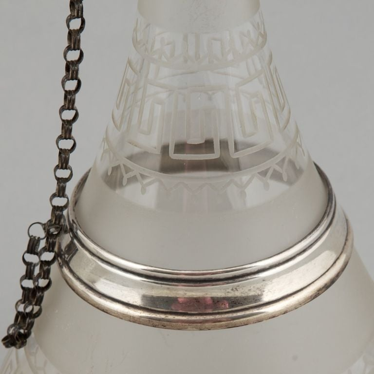 Pair 19th Century Dutch Glass Decanters with Sterling Silver For Sale 1