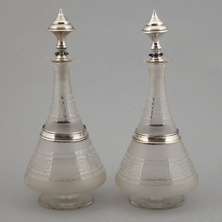 Pair 19th Century Dutch Glass Decanters with Sterling Silver In Excellent Condition For Sale In Troy, MI