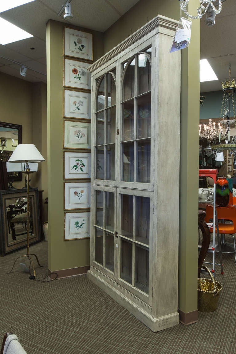 Captivating Tall French Painted And Glazed Shallow Display Cabinet In Excellent  Condition For Sale In Troy,