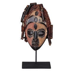 Congolese Wooden Mask on Custom Iron Stand