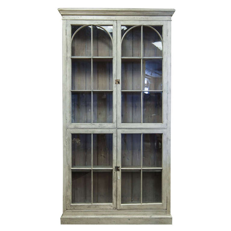 Tall French Painted And Glazed Shallow Display Cabinet At