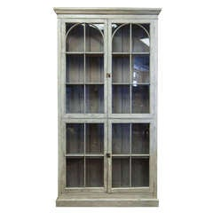 Tall French Painted and Glazed Shallow Display Cabinet