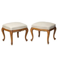 Pair French Upholstered Walnut Stools