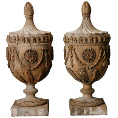 Pair of Monumental French Carved Wood Capitals