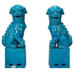 Pair Turquoise Limoges Foo Dogs