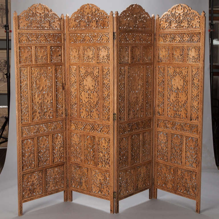 Carved Wooden Screens ~ Anglo indian elaborately carved four panel screen at stdibs