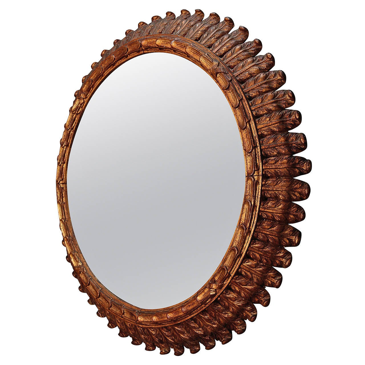 Wonderful Large Round Wood Mirror Part - 14: 19th Century French Large Carved Gilt Wood Round Mirror 1