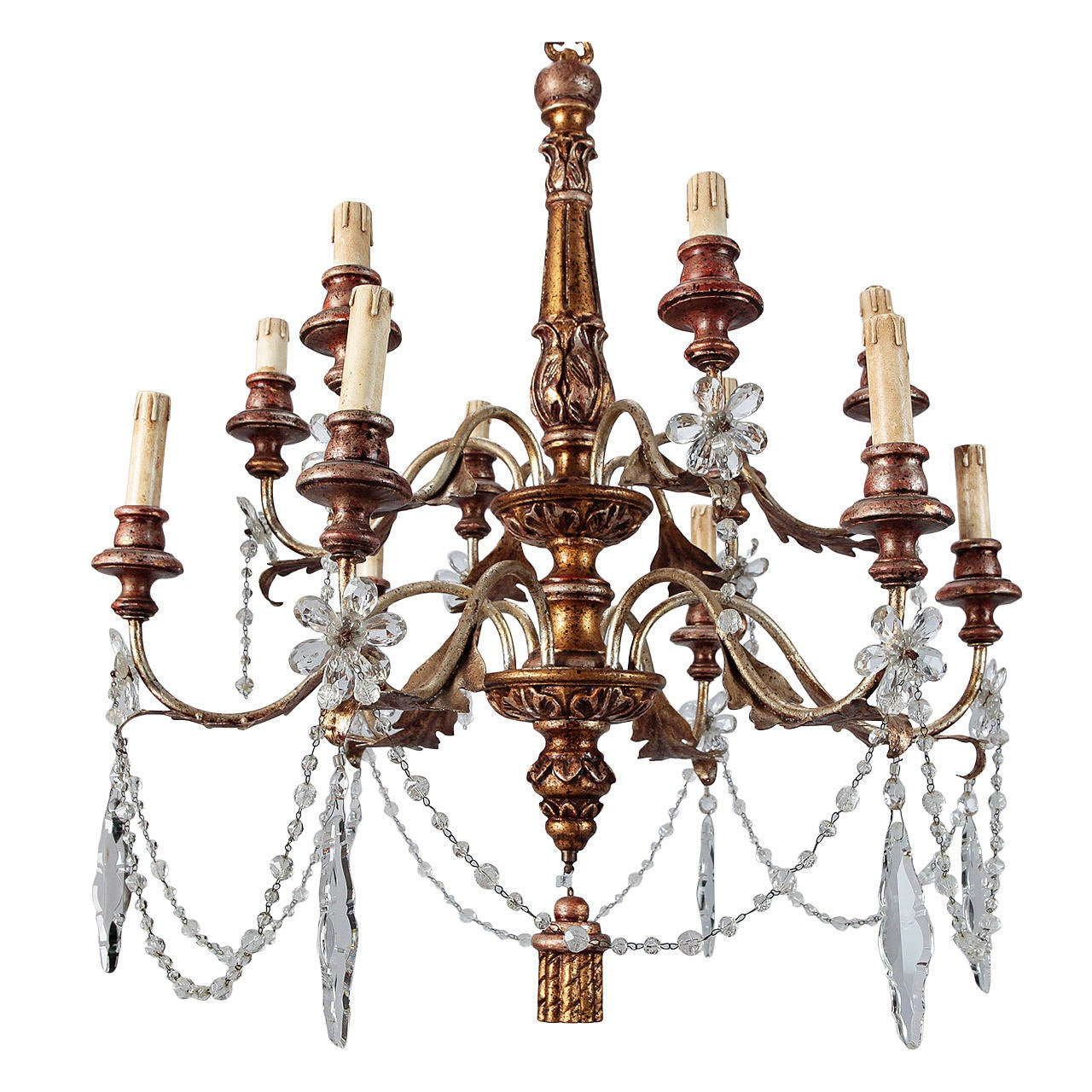 19th Century French Twelve-Light Gild Wood and Crystal Chandelier