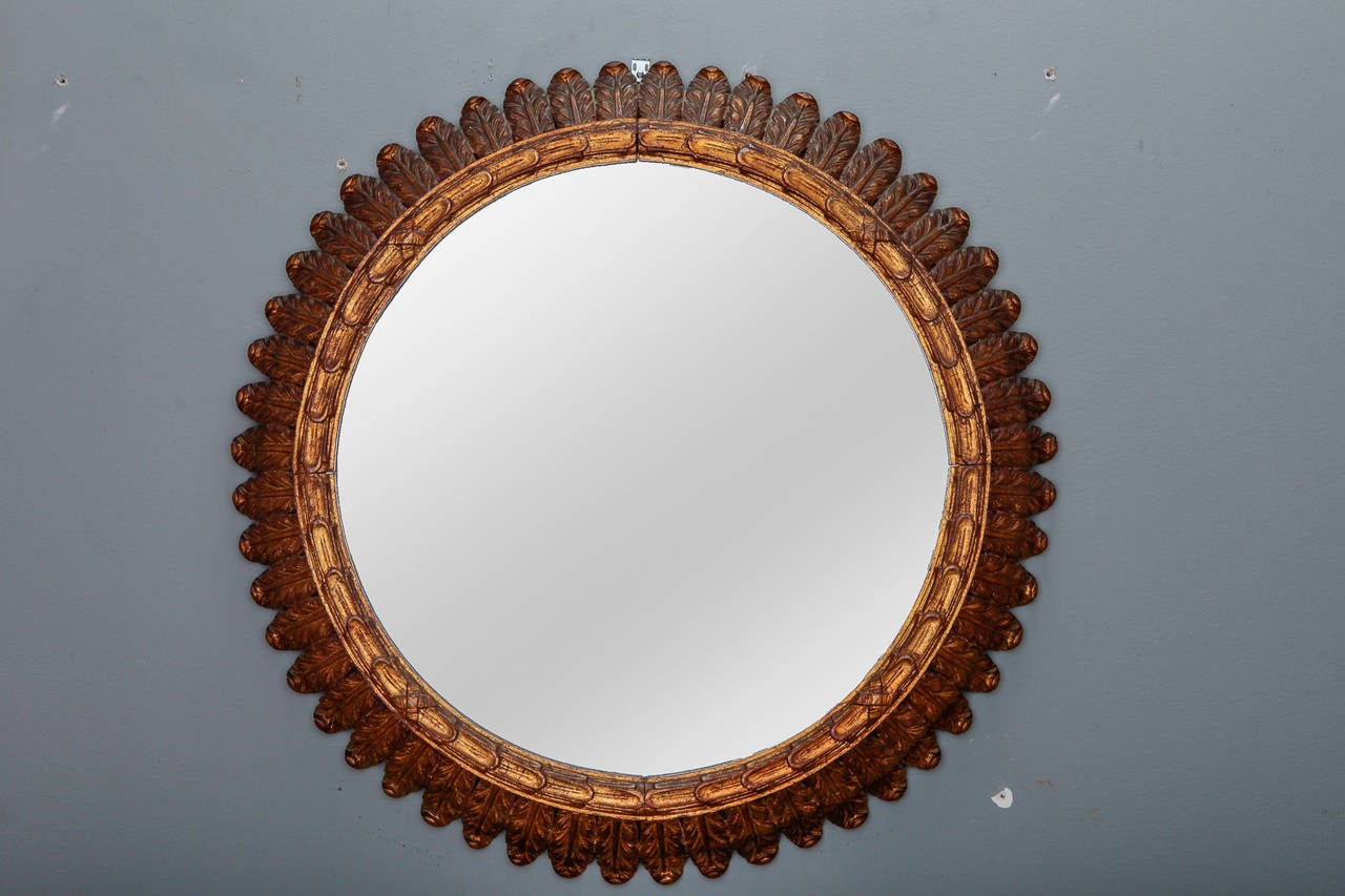 19th Century French Large Carved Gilt Wood Round Mirror At